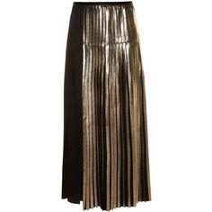 Stella McCartney Carmen bi-colour pleated satin-backed crepe skirt (7.824.955 IDR) ❤ liked on Polyvore featuring skirts, black multi, midi skirt, knee length pleated skirt, mid calf skirts, pleated skirt and satin pleated skirt