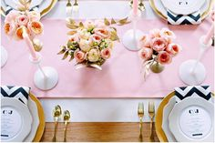 GOLD FLATWARE PINK WHITE BALCK CHEVRON DINING TABLE SETTING