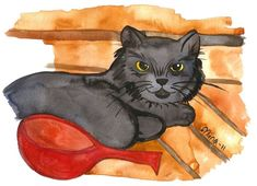 Cat in the Sauna Wood Wall Art by fairychamber Watercolor Paintings Nature, Watercolor Cat, Watercolor Animals, Watercolors, Nursery Paintings, Animal Paintings, Nursery Art, Original Art, Original Paintings