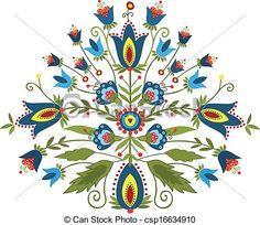 Vector Clip Art of Polish embroidery design - polish pattern folk ...