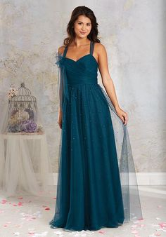 Alfred Angelo floor length gown with a-line silhouette, sweetheart neckline, draped surplice bodice, and ruched skirt with tonal pearl beading I Style: 8623L I https://www.theknot.com/fashion/8623l-modern-vintage-bridesmaids-bridesmaid-dress?utm_source=pinterest.com&utm_medium=social&utm_content=june2016&utm_campaign=beauty-fashion&utm_simplereach=?sr_share=pinterest