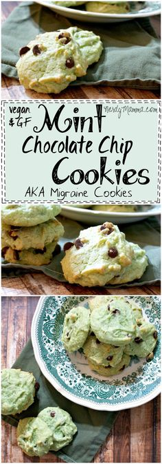 This recipe for Vegan and Gluten-Free Mint Chocolate Chip Cookies looks so easy! And I love the idea that these are migraine cookies. LOL! #ad Gluten Free Desserts, Vegan Desserts, Fun Desserts, Vegan Gluten Free, Delicious Desserts, Vegan Recipes, Mint Recipes, Top Recipes, Vegan Food