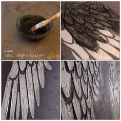 angel wings stencil / modern masters texture plaster
