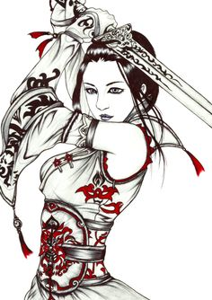 tattoo of geisha girl Art Geisha, Geisha Drawing, Geisha Kunst, Samurai Drawing, Samurai Anime, Female Samurai Tattoo, Samurai Warrior, Samurai Tattoo Sleeve, Geisha Tattoos