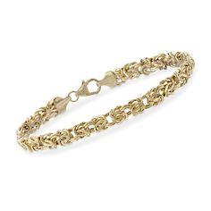 "14kt Yellow Gold Byzantine Bracelet. 7"""