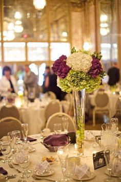tall hydrangea centerpieces for weddings | Tall, simple Hydrangea centerpieces | My Wedding