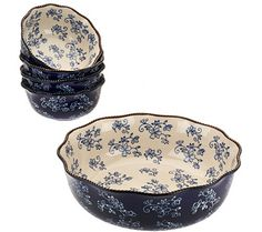 Temp-tations bowl set has your noshing needs covered. With one large 4-qt serving bowl and four smaller bowls. From Temp-tations(R) Ovenware. QVC.com in Blue
