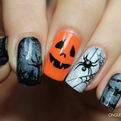 Orange Grey and Black Halloween Nails With Jack-o-Lantern, Spider, and Bats.