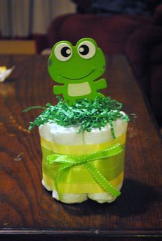 Small one layer Boy  Frog Diaper Cake  - Baby Shower gift /Centerpiece
