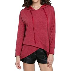 LD Womens Drawstring Long Sleeve Irregular Hoodie Sweatshirt -- You can find more details by visiting the image link. (This is an affiliate link) #FashionHoodiesSweatshirts