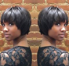African American cropped bob hairstyle, like it very cute. But I don't know if it would look nice with my face shape.