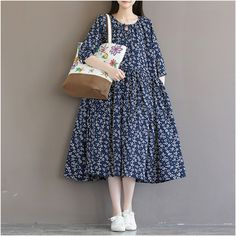 Women's loose cotton linen long-sleeved floral dress- Buykud-