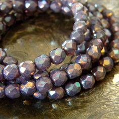 Abalone 25 Czech Glass Faceted Rounds 6mm by TheBeadApothecary