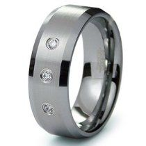 Tungsten Carbide Diamond Wedding Band Ri