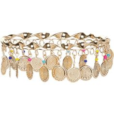 New Look Gold Coin Beaded Arm Cuff (520 INR) ❤ liked on Polyvore featuring jewelry, bracelets, multicolour, gold jewellery, tri color gold jewelry, polish jewelry, tri color jewelry and polishing gold jewelry