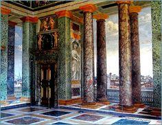 the main 'salone' of Villa Farnesina in Trastevere - Roma - with  'trompe-l'œil' illusionistic frescoes ca. 1510-1515 by Baldassare Peruzzi, also the architect