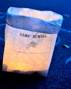 """light the backyard with battery operated tea lights in paper sacks: outdoor camping / Camping """"Camp Newell"""" 