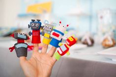 Stylish Childrens Parties: Robot Finger Puppets