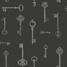 Charcoal Black Silver FD31059 Keys Fine Decor Wallpaper | eBay