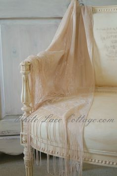 Old White Chalk Paint® decorative paint on chair & fabric | White Lace Cottage