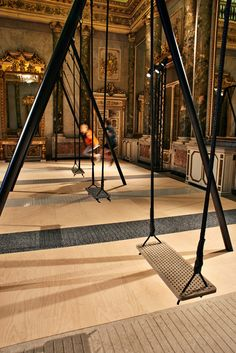 Caeserstone, Milan Design Week.  Designed by Philippe Malouin who installed a 8 piece swing set created from the new surface designs of Caesarstone at Palazzo Serbelloni.  Like the interaction of the exhibit.