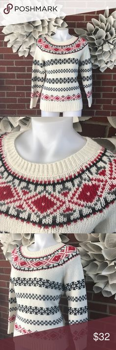 Talbots fair isle Nordic Crewneck Sweater !Please see photos for all details and measure! This item comes from a smoke free home!! No rips, tears holes or stains to note!! Fast shipping!! Buy confidently!! THANKYOU for looking!! Happy shopping Talbots Sweaters Crew & Scoop Necks