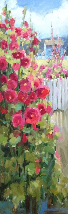 Hollyhock Hill House by Janette Jones Oil ~ 36 x 12