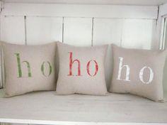 Holiday  pillows, ho ho ho, christmas pillows, decorative pillows, hand painted pillows, santa decor, shabby chic, farmhouse on Etsy, $30.00