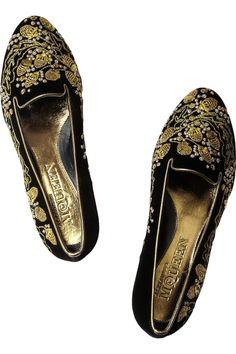 Alexander McQueen|Embellished velvet slippers|NET-A-PORTER.COM