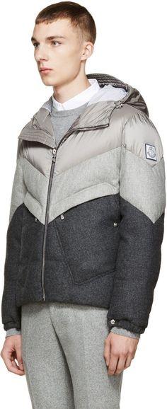Moncler Gamme Bleu Grey Chevron Down Jacket