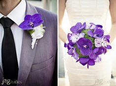 purple suit Purple Bouquets, Bride Bouquets, Floral Bouquets, Bridesmaid Bouquet, Purple Flowers, Purple Orchids, Bright Purple, Bouquet Wedding, Pretty Flowers