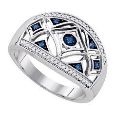 925 WP 0.20Ctw-Blue Dia Wedding Ring Band