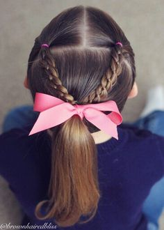 Little girl hairstyles. Two 4 Strand Braids into a ponytail. Little girl hairstyles. Two 4 Strand Br Little Girl Hairdos, Girls Hairdos, Baby Girl Hairstyles, Ponytail Hairstyles, Pretty Hairstyles, Teenage Hairstyles, Easy Toddler Hairstyles, Sassy Haircuts, Braid Ponytail