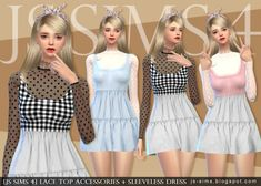 JS Sims 4: Lace Top Accessories + Sleeveless Dress • Sims 4 Downloads