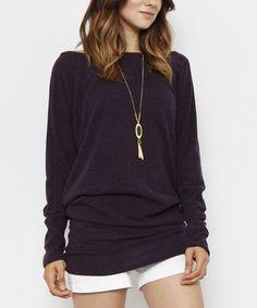 Love this plus size deep purple sweater! #sponsored #lovemycurves