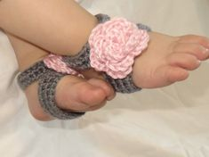 Barefoot Sandals - Crochet Baby Girl Foot Accessory for Summer - Slip on style with no toe loops, tie strings, or buttons to fasten- by CrochetToZ