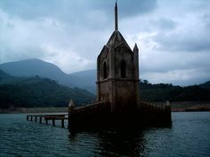 The Abandoned Submerged Church and Town of Potosi in the Uribante Reservoir