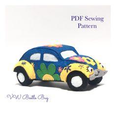 Felt VW Beetle, Felt mini, Felt Car, Toy car sewing Pattern - Felt sewing pattern, Toy Car, PDF Pattern, sewing tutorial, kidsroom decor Pdf Sewing Patterns, Sewing Tutorials, Monkey Pattern, Embroidery Scissors, Felt Fabric, Vw Beetles, Kidsroom, Felt Animals, Digital Pattern
