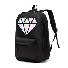 b6fa98340f Holographic Silver Diamond Unisex Backpack. Cute Black BackpackSchool Bags  For GirlsBackpack BagsCanvas ...