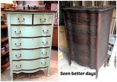 Before/After hand painted dresser