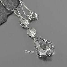 Exclusive long Pendant with Swarovski Baroque in Crystal CAL for Bride, Bridesmaids by TheBestEarrings, $25.00