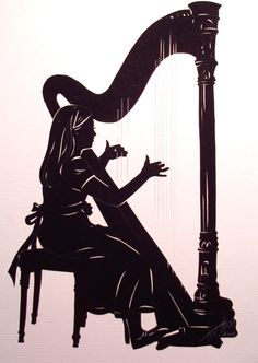 Little Harpist, cut paper silhouette by Tim Arnold