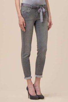 JEANS GRIGIO LUISA SPAGNOLI  Jeans grigio con nastro