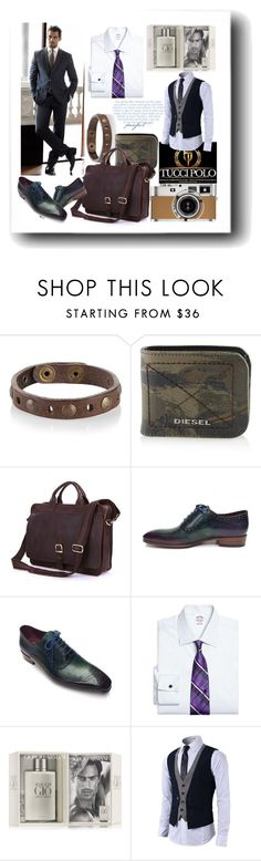 """Tucci Polo 44"" by ane-twist ❤ liked on Polyvore featuring Diesel, Hermès, Dolce&Gabbana, Brooks Brothers and Giorgio Armani"