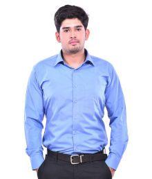 Dennison Classy Smart Blue Solid Mens Formal Shirts