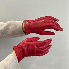 Red leather gloves. #leathergloves