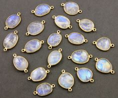 Natural Rainbow Moonstone Faceted Oval Connector, Gold Vermeil, , Incredible Blue Fire,17x11mm,1 Piece, (RNM17x11) by Beadspoint on Etsy