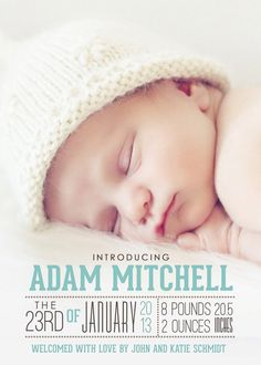 photo birth announcement baby boy or girl birth by westwillow--I like the fonts