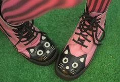 Pink & black cathead boots