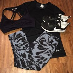 Marble leggings Nike gym outfit